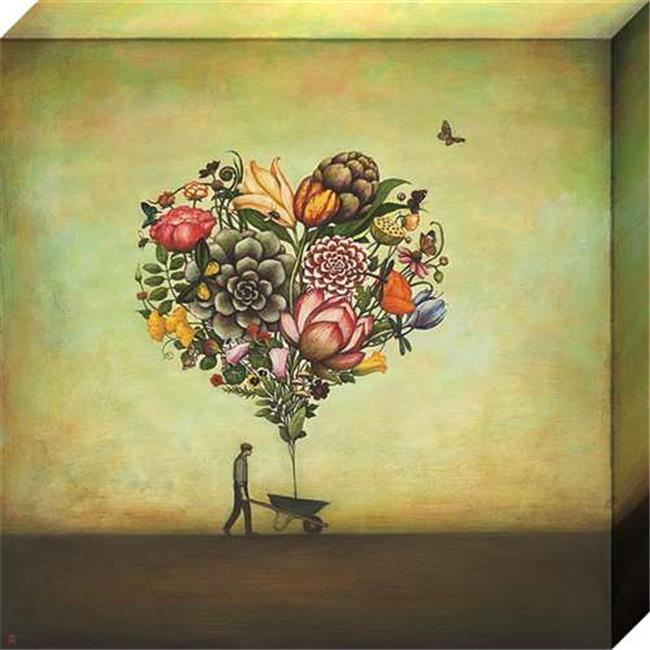 North American Art NC1157 13 x 13 in. Big Heart Botany Canvas Gallery Wrapped Art Print