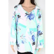 Womens Blouse Turqoise Plus Frill Floral Bell Sleeve 3X