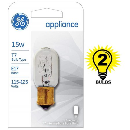 GE Lighting 35153 15-Watt Appliance Intermediate Base T7, 2 Bulbs GE's specialty bulbs offer innovative solutions for a variety of lighting needs.Be sure to check appliances for correct bulb wattage, voltage and base type.120 volts, Initial Lumens: 7 lmLasts 3000 hoursT7 shape with intermediate base for use in appliances
