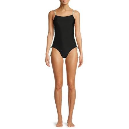 No Boundaries Juniors' Lace-Up Side One-Piece Swimsuit