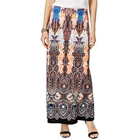 a97409cce Eci New York - ECI Ikat-Print Maxi Skirt (Coral Paisley Print, S) -  Walmart.com
