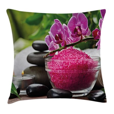 Spa Decor Throw Pillow Cushion Cover, Black Zen Stone Triplets with Asian type Orchids and Fuchsia Salt, Decorative Square Accent Pillow Case, 16 X 16 Inches, Fuchsia Black and Green, by Ambesonne