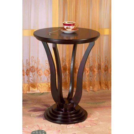Home Craft Round End Table, Multiple Colors (Brown Round End Table)