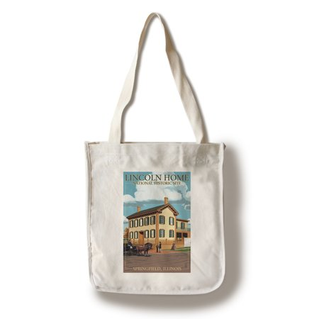 Lincoln Home National Historic Site   Springfield  Illinois   Lantern Press Poster  100  Cotton Tote Bag   Reusable