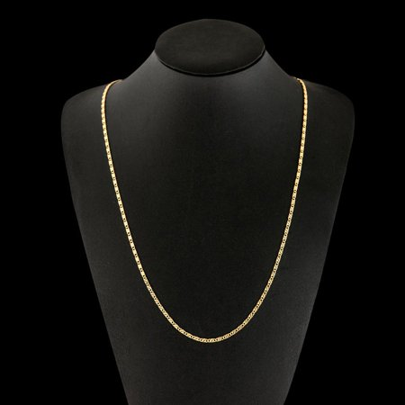 a36cd5ddcee7a Gold Color Flat Chain Necklace for Women Men Jewelry Necklaces 8 ...