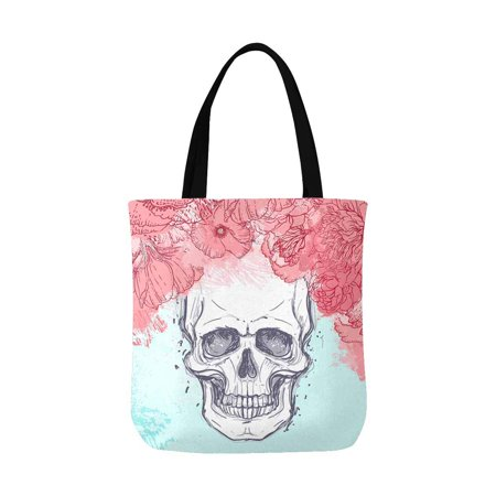 ASHLEIGH Halloween Watercolor Skull with Peony Rose and Poppy Flowers Canvas Reusable Tote Bag Durable Shopping or Book Bags for Women Men Kids](Halloween Torte Kuchen)