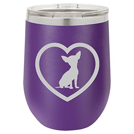 12 oz Double Wall Vacuum Insulated Stainless Steel Stemless Wine Tumbler Glass Coffee Travel Mug With Lid Chihuahua Heart (Purple)