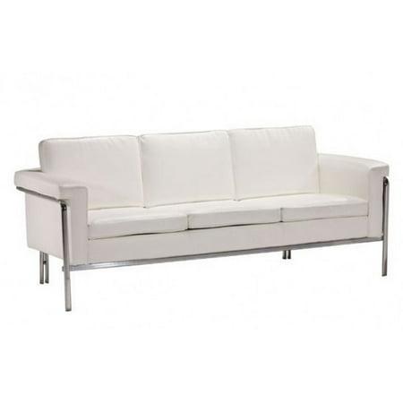 Brika Home Modern Faux Leather Sofa In White