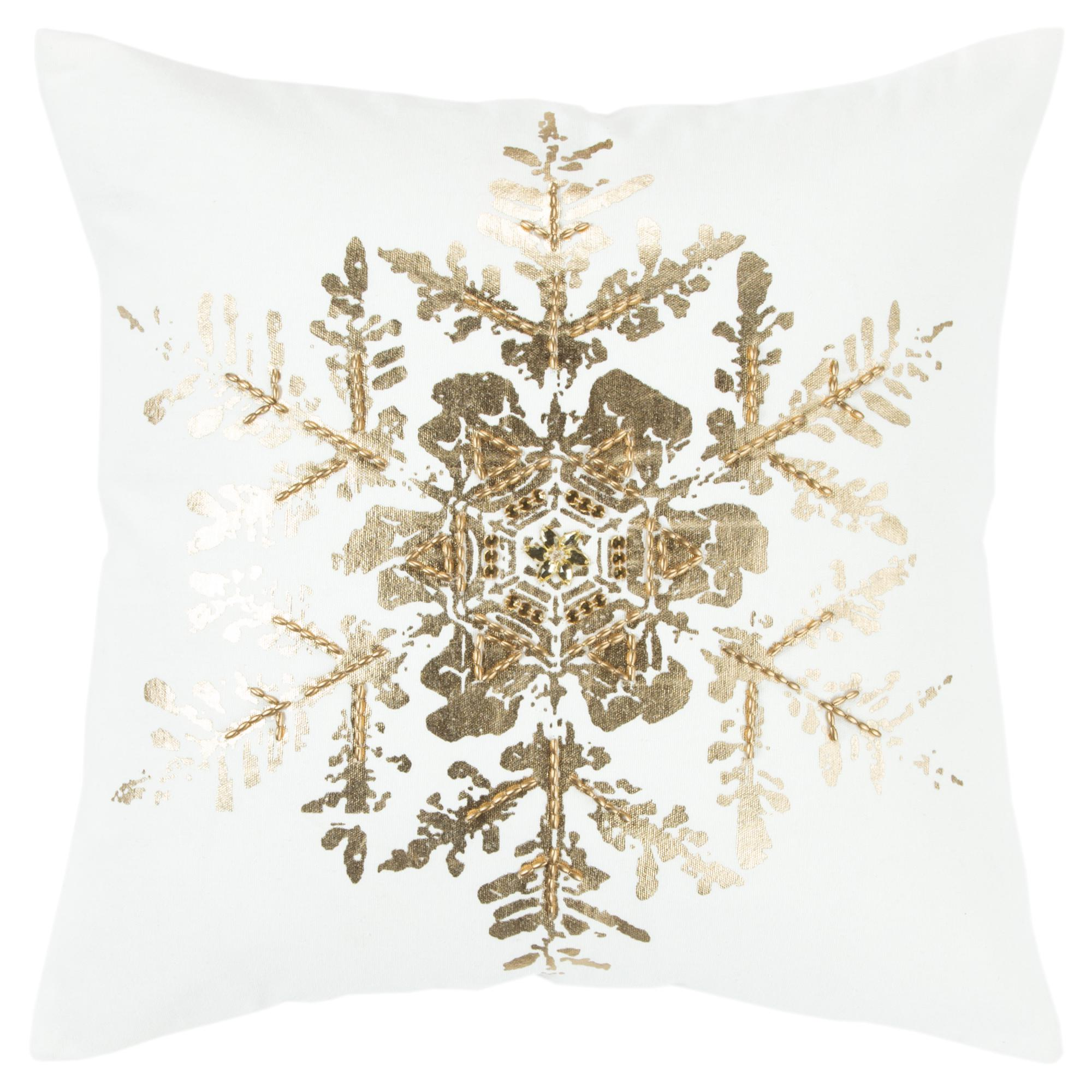 "Rizzy Home Decorative Poly Filled Throw Pillow Holiday Snowflake 20""X20"" Copper"