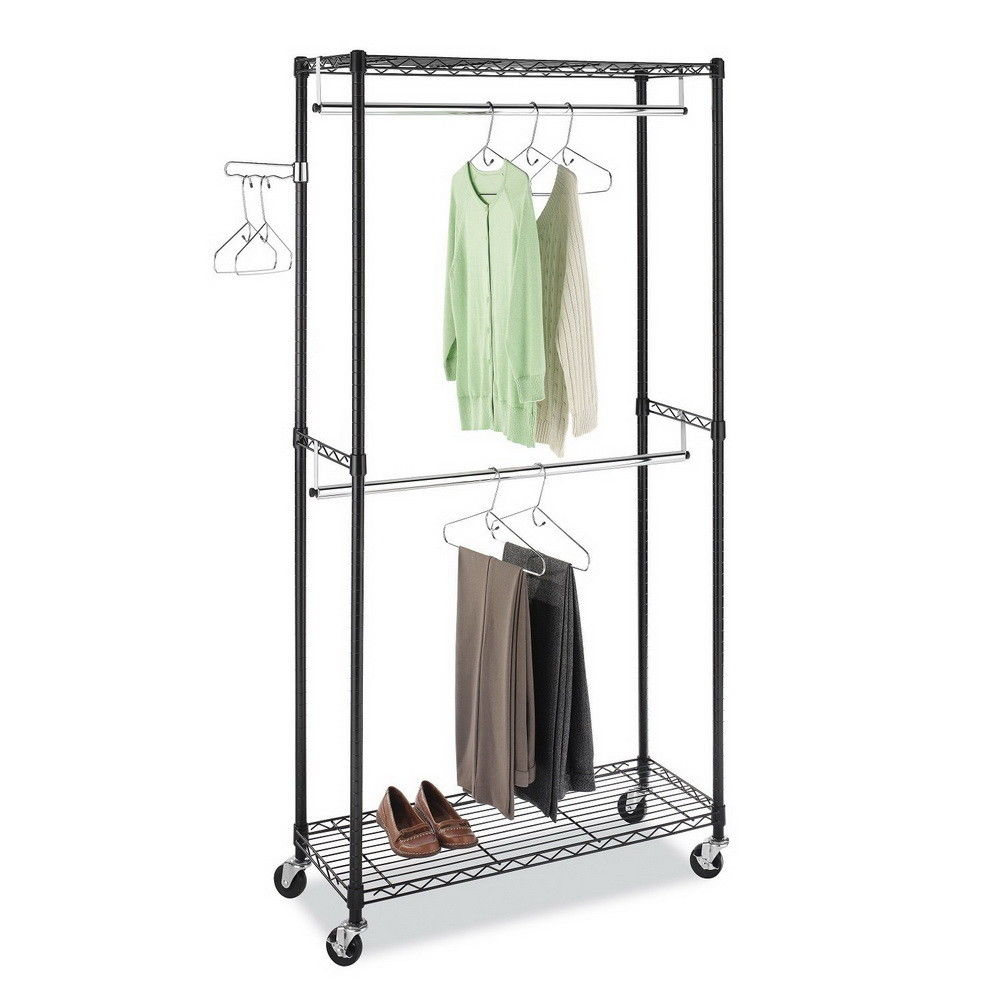 Ktaxon Garment Rack Wheels Rolling Clothes Closet Hanger Two Rods Shelves Sturdy