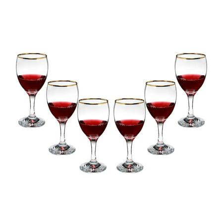 Romantic Stemmed Wine Glasses 10 Oz, Modern Crystal Goblets Gold Rim Set (6)