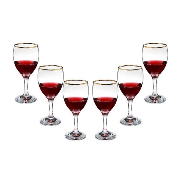 Romantic Stemmed Wine Glasses 10 Oz Modern Crystal Goblets Gold Rim Set 6 Walmart Com Walmart Com