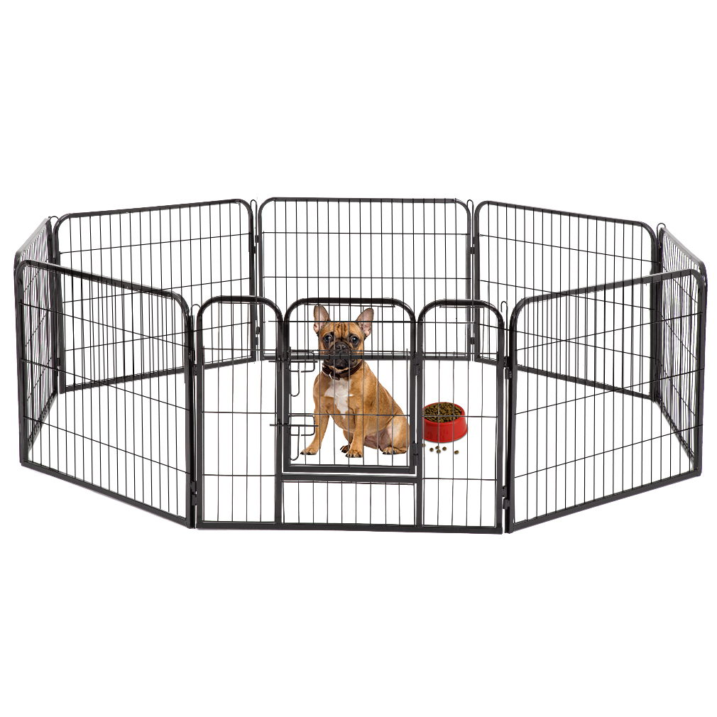 "BestPet Black 24"" 8 Panel Heavy Duty Pet Playpen Dog Exercise Pen Cat Fence"
