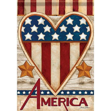 2b9ee8c57b80 Patriotic Heart America House Flag Stars   Stripes Primitive Banner 28