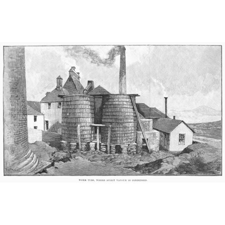 Whisky Distillery 1890 Nthe Glenlivet Scotch Whisky Distillery Near Ballindalloch In Moray Scotland Line Engraving English 1890 Poster Print by Granger