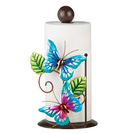 Blue Butterfly Kitchen Countertop Metal Paper Towel Holder
