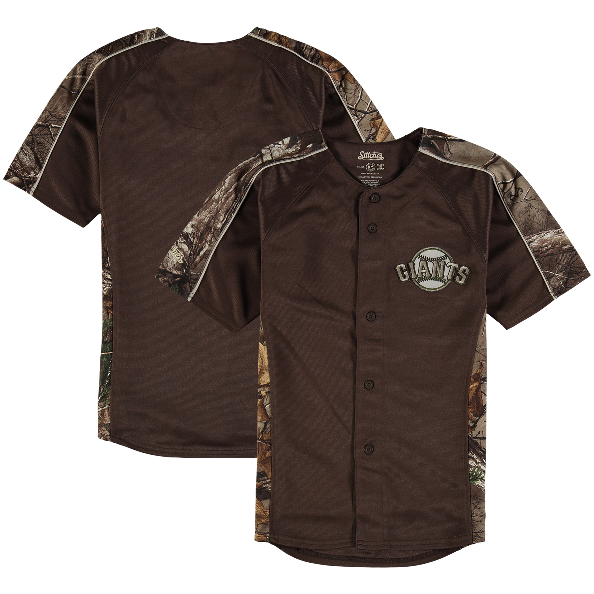 San Francisco Giants Stitches Youth Replica Jersey - Realtree Camo