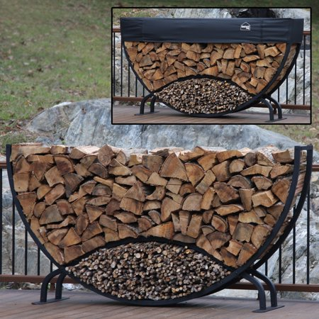 8' Round Firewood Log Rack with Kindling Kit and 1'