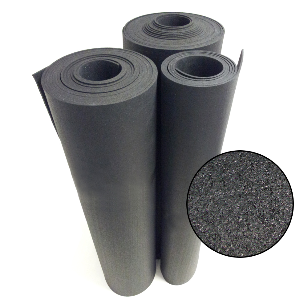 """Rubber-Cal """"Recycled Flooring"""" 1/4 in. x 4 ft. x 4 ft. - Black Rubber Mats"""
