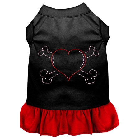 Rhinestone Heart And Crossbones Dress Black With Red Xs (70's Dress Attire)