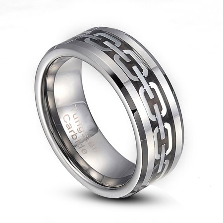 8mm Silver Or Gold Tungsten Carbide Chain Link Inlay Comfort Fit Ring Size 8-14 Half Size Available