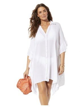 Swimsuits For All Women's Plus Size Sawyer Button Up Cover Up Shirt
