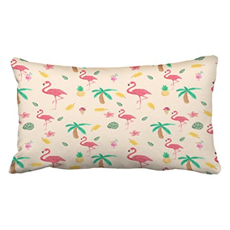Winhome Cute Trendy Pink Watercolor Tropical Flamingo Flowers Outdoor Polyester 20 X 30 Inch Rectangle Throw Pillow Covers With Hidden Zipper Home