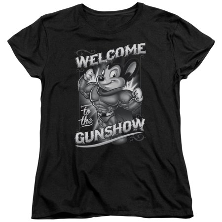 Mighty Mouse Mighty Gunshow Womens Short Sleeve (Mighty Mouse Ladies Tee)