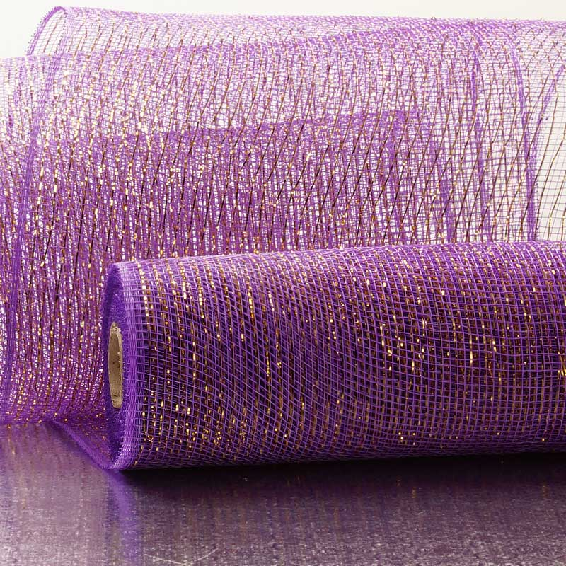 "10"" X 10 Yards Purple/Gold Metallic Striped Deco Mesh by Paper Mart"