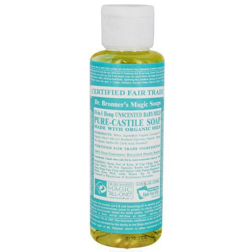 Dr. Bronner'S Magic Soap - Pure Castile - Liquid - 18 In 1 Hemp - Unscented - Baby Mild - 4 Oz