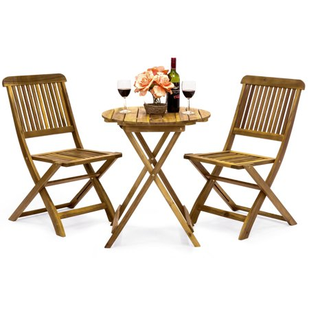 Best Choice Products Acacia Wood 3-Piece Folding Outdoor Bistro Set, Brown