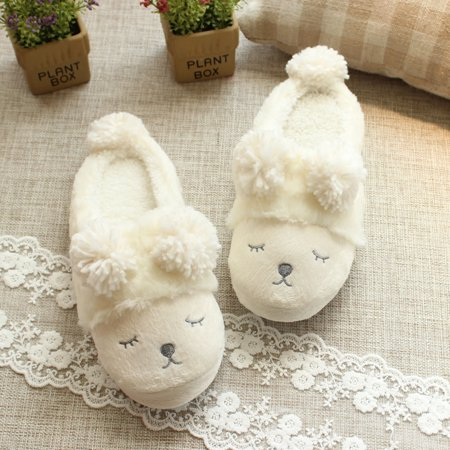 Winter Warm Short Plush Indoor Slippers Cute Cartoon Sheep Lamb Soft Indoor Home Wear Slippers House Shoes Soft Sole Women Indoor Shoe Couples House Slipper