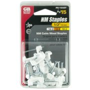 "GB  Gardner Bender PS-1550T 1/2"" White Insulated Romex Staples 15-count"
