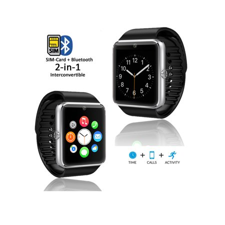 Silver GT8 Bluetooth SmartWatch & Phone w/ Pedometer & Sleep Monitor &  Camera