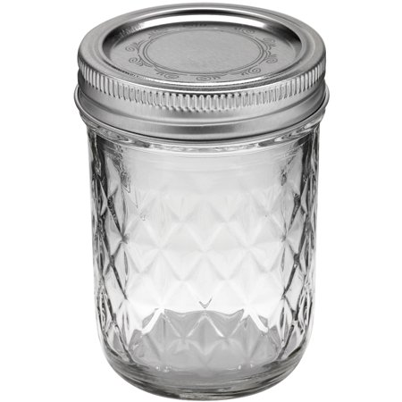 Ball Quilted Crystal Mason Jar W/ Lid & Band, Regular Mouth, 8 Ounces, 12 Count