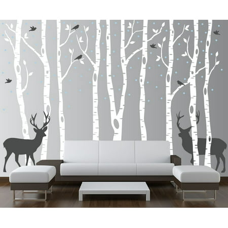 Innovative Stencils Birch Tree Wall Decal Forest with Snow Birds and Deer Vinyl Sticker Removable (9 Trees) 84