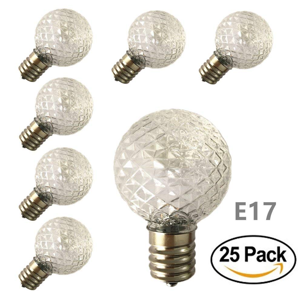[ 25 Pack ] LED G40 Globe Replacement Bulbs for Patio Outdoor String Lights, C9/E17 Candelabra