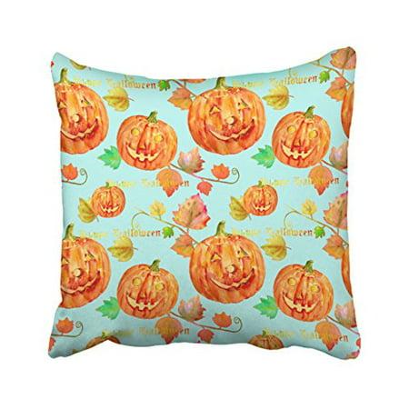 WinHome Decorative Pillowcases Watercolor Halloween Pumpkin Cushion Sofa 18x18 Inches Two Side