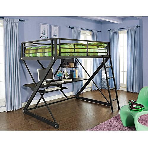 Powell Z Full Over Desk Metal Loft Bunk Bed, Black
