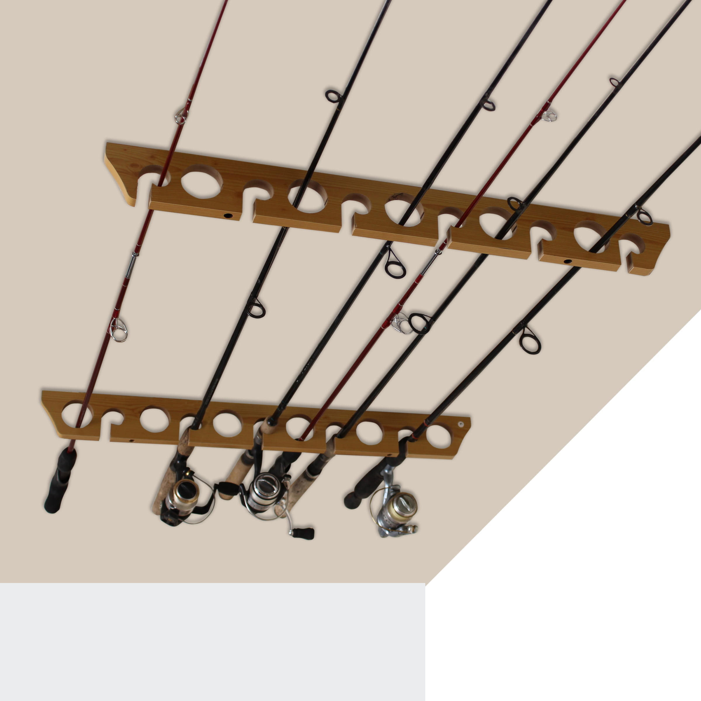 Hang on Walls Old Cedar Outfitters 3-in-1 Hanging Fishing Rod Storage Rack