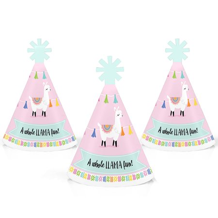 Whole Llama Fun - Mini Cone Llama Fiesta Baby Shower or Birthday Party Hats - Small Little Party Hats - Set of 10](Fiesta Hat)