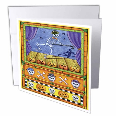 3dRose Silly Dancing Skeleton Halloween Art, Greeting Cards, 6 x 6 inches, set of 12 (Silly Halloween Greetings)