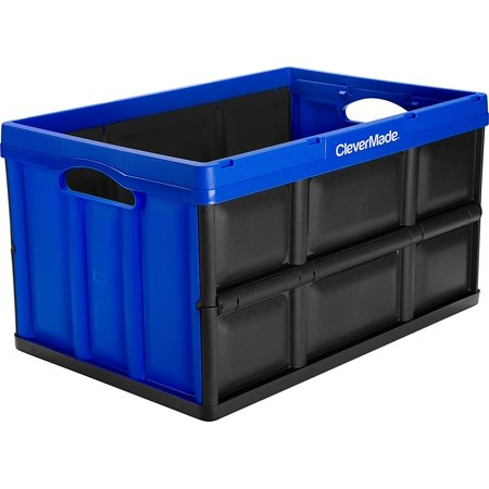 CleverMade CleverCrates 62 Liter Collapsible Storage Bin/Container: Solid Wall Utility Basket/Tote, Royal - Royal Blue Collapsible