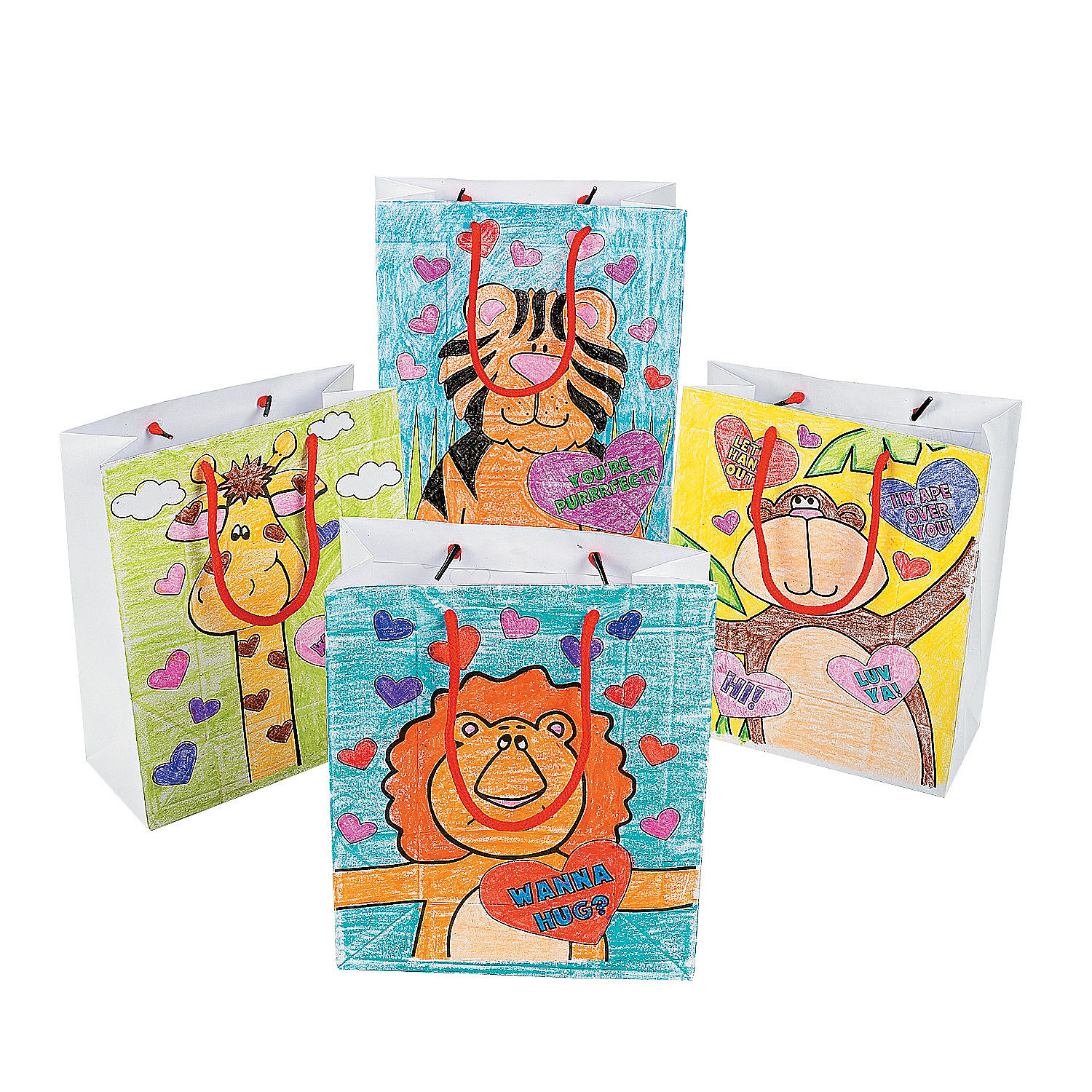 IN-3/143 Color Your Own Valentine Gift Bags