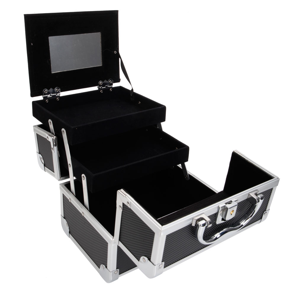 Ktaxon Portable Aluminum Makeup Storage Case Train Case Bag With Mirror  Lock Black Jewelry Box
