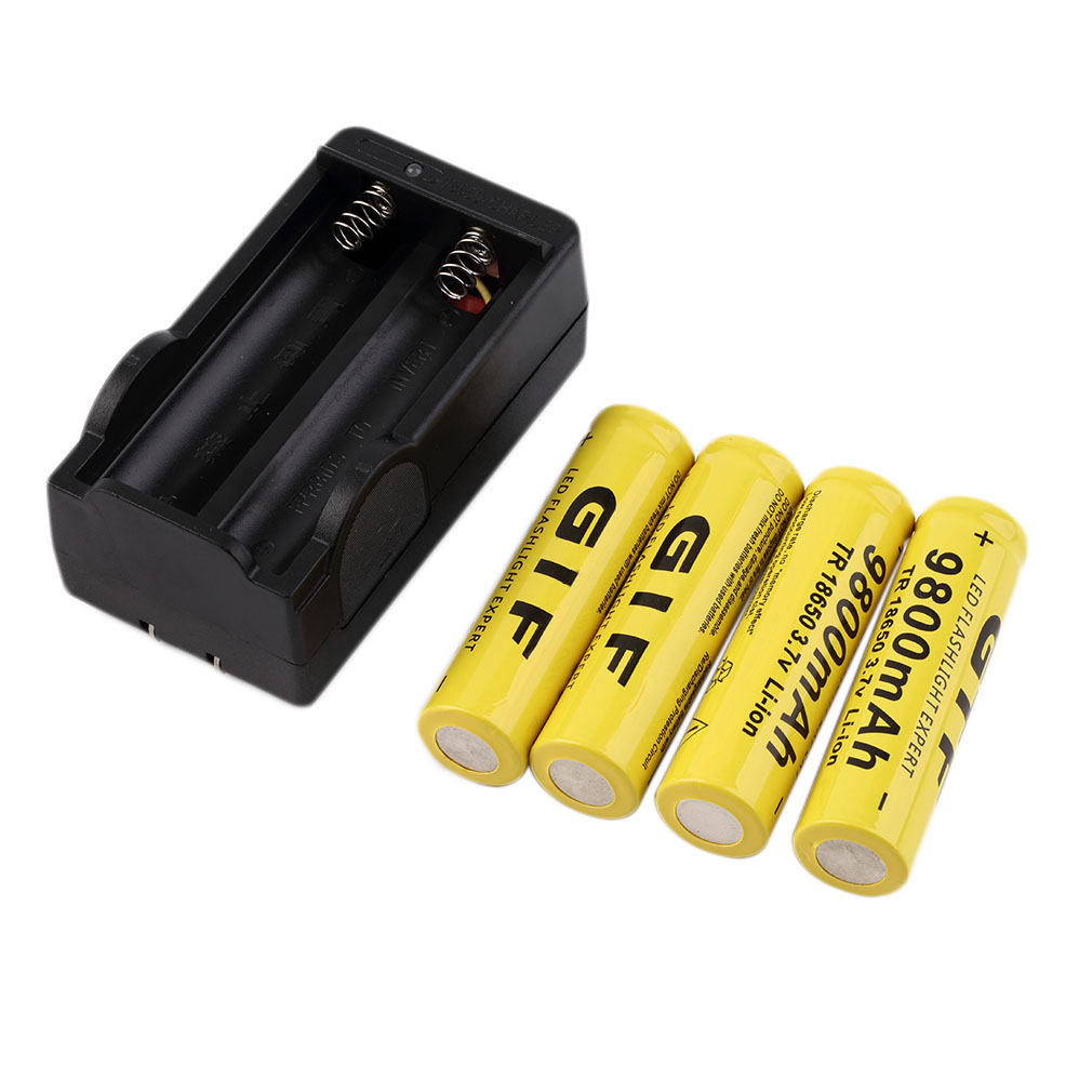 4pcs 18650 Yellow 3.7V 9800mAh ReC hargeable l iion Battery + C harger Safe Environmental Friendly For Flashlight