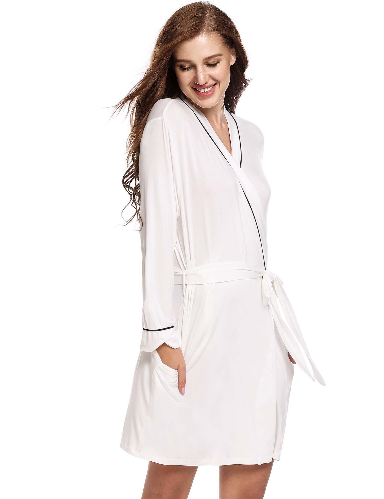Women  s Kimono Robe Long Sleeve Lace Up Belted Sleepwear Nightgown  Nightwear HFON 3f986af75