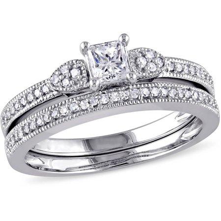 Miabella 1/2 Carat T.W. Princess-cut and Round Diamond 10kt White Gold Bridal Set