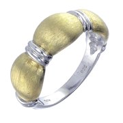 Yellow Gold Plated Sterling Silver Heart Ring With Matte Finish