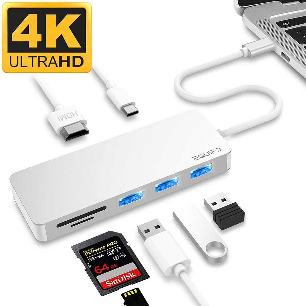 "USB C Hub, EQUIPD 7 IN 1 Aluminum Type C Adapter with USB C Charging Port, 4K HDMI Output, 1 USB 3.0/2 USB 2.0 Ports, SD/microSD Card Reader for MacBook Pro 13"" 15"" 2015/2016/2017 and More - Silver"
